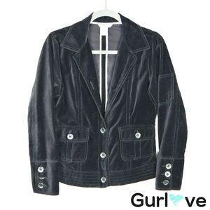 CAbi 649 Black Velvet Jacket Size S